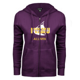 ENZA Ladies Purple Fleece Full Zip Hoodie-Twirling Thunder Alumni