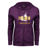 ENZA Ladies Purple Fleece Full Zip Hoodie-Twirling Thunder Grandma