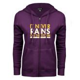 ENZA Ladies Purple Fleece Full Zip Hoodie-It Never Rains On The Storm