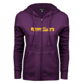 ENZA Ladies Purple Fleece Full Zip Hoodie-#StormMacys