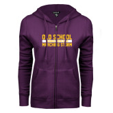 ENZA Ladies Purple Fleece Full Zip Hoodie-Old School Marching Storm Stacked
