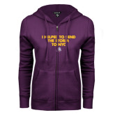 ENZA Ladies Purple Fleece Full Zip Hoodie-The Storm To NYC w/ Cloud