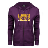 ENZA Ladies Purple Fleece Full Zip Hoodie-The Storm To NYC Stacked