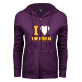 ENZA Ladies Purple Fleece Full Zip Hoodie-I Heart The Storm