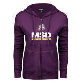ENZA Ladies Purple Fleece Full Zip Hoodie-MSD w/ PVAM Logo
