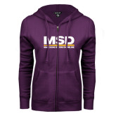 ENZA Ladies Purple Fleece Full Zip Hoodie-MSD