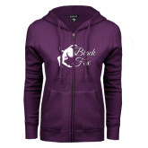 ENZA Ladies Purple Fleece Full Zip Hoodie-Black Fox Logo