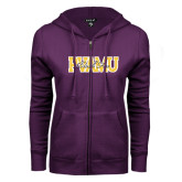 ENZA Ladies Purple Fleece Full Zip Hoodie-PVAMU Black Fox Overlap