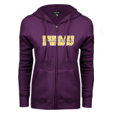 ENZA Ladies Purple Fleece Full Zip Hoodie-PVAMU Twirling Thunder Overlap