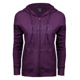 ENZA Ladies Purple Fleece Full Zip Hoodie-PVAMU Twirling Thunder Script