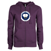 ENZA Ladies Purple Fleece Full Zip Hoodie-Marching Storm Cloud Circle - Fan