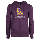 ENZA Ladies Purple Fleece Full Zip Hoodie-PVAM Stacked