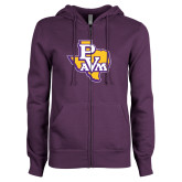 ENZA Ladies Purple Fleece Full Zip Hoodie-PVAM Texas