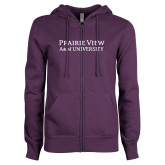 ENZA Ladies Purple Fleece Full Zip Hoodie-Word Mark Stacked