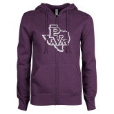 ENZA Ladies Purple Fleece Full Zip Hoodie-PVAM Texas White Soft Glitter