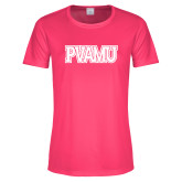 Ladies Performance Hot Pink Tee-PVAMU