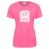 Ladies Performance Hot Pink Tee-Praire View marching Storm w/ Majors