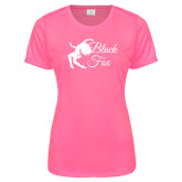 Ladies Performance Hot Pink Tee-Black Fox Logo