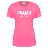 Ladies Performance Hot Pink Tee-PVAMU Black Fox Script