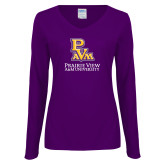 Ladies Purple Long Sleeve V Neck Tee-PVAM Stacked