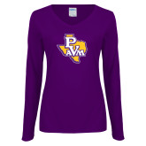 Ladies Purple Long Sleeve V Neck Tee-PVAM Texas