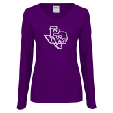 Ladies Purple Long Sleeve V Neck Tee-PVAM Texas White Soft Glitter
