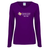 Ladies Purple Long Sleeve V Neck Tee-Mom