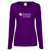 Ladies Purple Long Sleeve V Neck Tee-Alumni