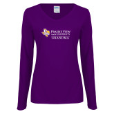 Ladies Purple Long Sleeve V Neck Tee-Grandma