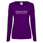 Ladies Purple Long Sleeve V Neck Tee-Word Mark Stacked