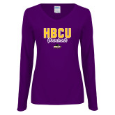 Ladies Purple Long Sleeve V Neck Tee-HBCU Graduate