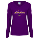 Ladies Purple Long Sleeve V Neck Tee-2018 Mens Golf Champions