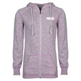 ENZA Ladies Hot Violet Marled Full Zip Hoodie-PVAMU