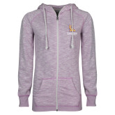 ENZA Ladies Hot Violet Marled Full Zip Hoodie-PVAM Stacked