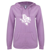 ENZA Ladies Hot Violet V Notch Raw Edge Fleece Hoodie-PVAM Texas