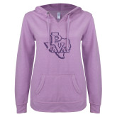 ENZA Ladies Hot Violet V Notch Raw Edge Fleece Hoodie-PVAM Texas Purple Glitter