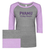 ENZA Ladies Athletic Heather/Violet Vintage Baseball Tee-PVAMU Twirling Thunder Script