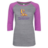 ENZA Ladies Athletic Heather/Violet Vintage Baseball Tee-PVAM Stacked