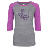 ENZA Ladies Athletic Heather/Violet Vintage Baseball Tee-PVAM Texas Purple Glitter