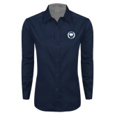 Ladies Navy Twill Button Down Long Sleeve-Marching Storm Cloud Circle