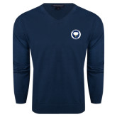 Classic Mens V Neck Navy Sweater-Marching Storm Cloud Circle