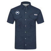 Columbia Tamiami Performance Navy Short Sleeve Shirt-Marching Storm Cloud Circle