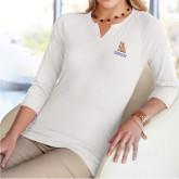 Ladies V Notch White 3/4 Sleeve Shirt-PVAM Stacked