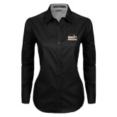 Ladies Black Twill Button Down Long Sleeve-Athletic Directors Club