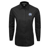 Ladies Black Tonal Pattern Long Sleeve Shirt-Marching Storm Cloud Circle