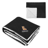 Super Soft Luxurious Black Sherpa Throw Blanket-PVAM Stacked