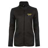 Black Heather Ladies Fleece Jacket-PVAMU Black Fox Script
