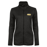 Black Heather Ladies Fleece Jacket-Black Fox PVAMU Stacked