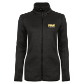 Black Heather Ladies Fleece Jacket-Twirling Thunder PVAMU Stacked