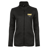 Black Heather Ladies Fleece Jacket-Twirling Thunder PVAMU Stacked - Alumni